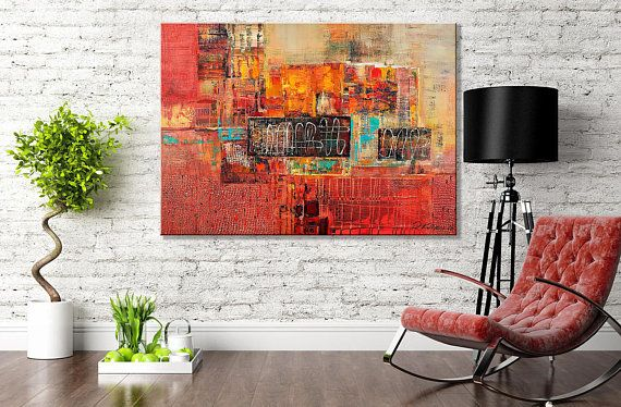 Large Wall Art Canvas Prints Abstract Art Print Red City