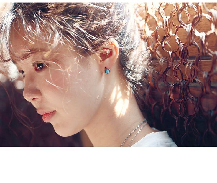 silver & gemstone earrings. / material : Sterling silver (silver 925)