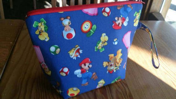 Knitting Project Bag  Mario and Nintendo by thingsbylengleng