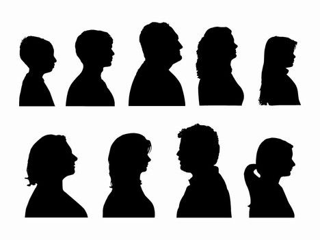Here is a nice template showing a number of head and shoulders as silhouette outlines which can be used as clip art.    These include men, women and children and we have also designed a cameo page for you too!