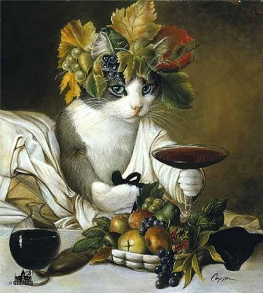 """WIDGET AS BACCHUS is a great print for cat lovers. Melinda Copper has provided some great still life art of fruit and wine around Widget. This print is available in an unframed image size of 9""""x12""""."""