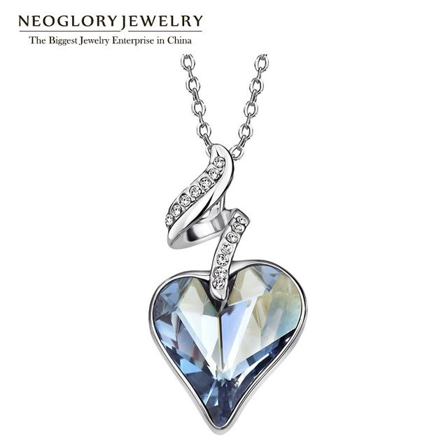 Promo $5.25, Buy Neoglory Austrian Crystal Rhinestones Four Color Heart Love Chain Necklaces & Pendants For Women 2017 Gift India Jewelry JS4 HE1