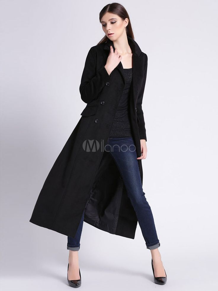 Damen Wollmantel schwarz Double Breasted Turndown Kragen Slim Fit Mantel