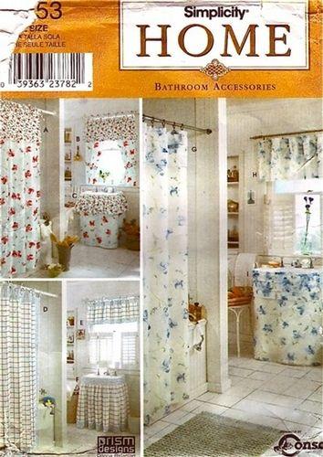 Simplicity Pattern 9153 Prism Home Designs - Bathroom Accessories - Shower Curtain, Window Treatments, Sink Skirt! Uncut, $5.00