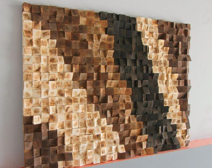 Parete in legno rustica Art, recuperato a legna legno parete arte, mosaico in legno, arte geometrica, arte di legno della parete, parete legno scultura astratta arte legno