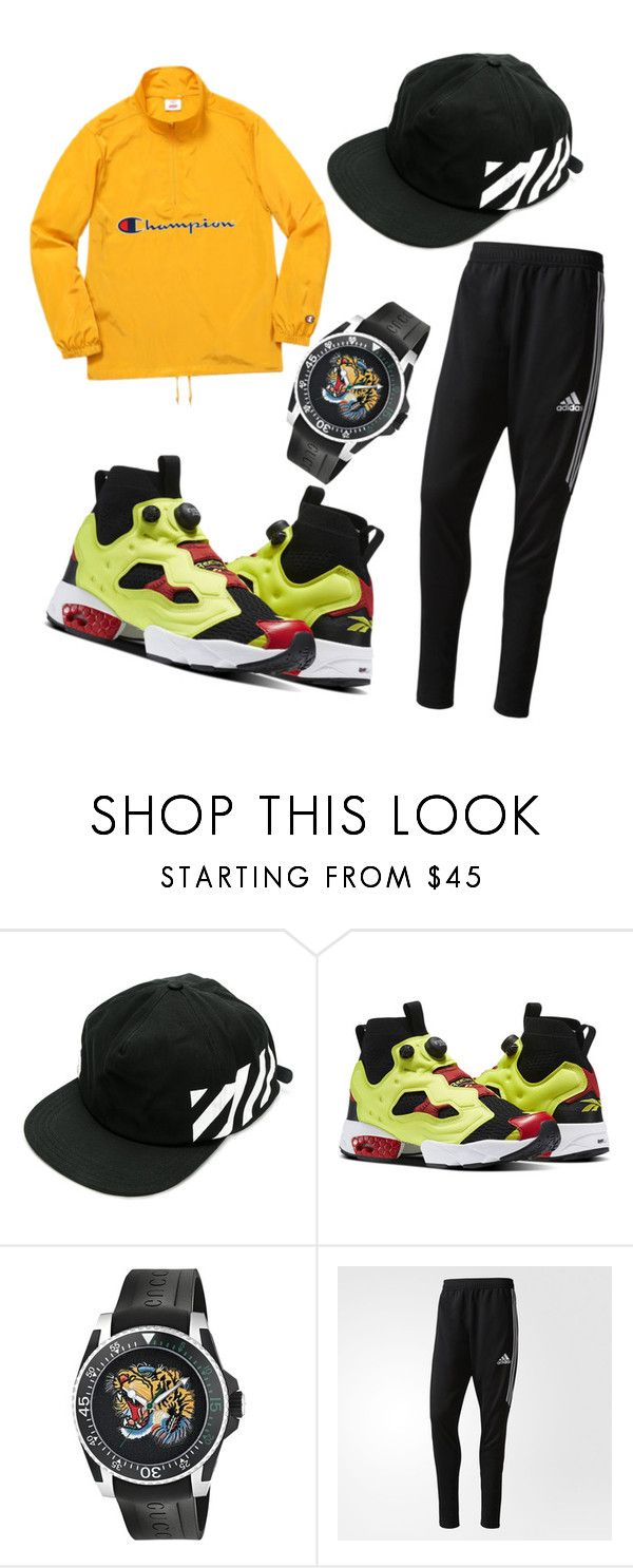 """""""outfit#106"""" by alifia-fae on Polyvore featuring Off-White, Reebok, Gucci, adidas, men's fashion and menswear"""