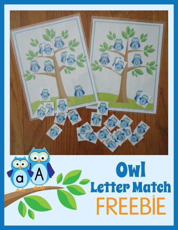 Owl Letter Match Freebie.  Great activity for preschool, pre-k and kindergarten letter identification.