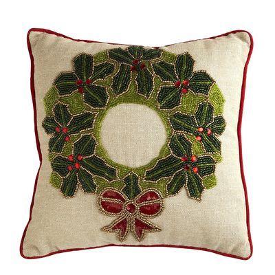 Beaded Wreath Pillow