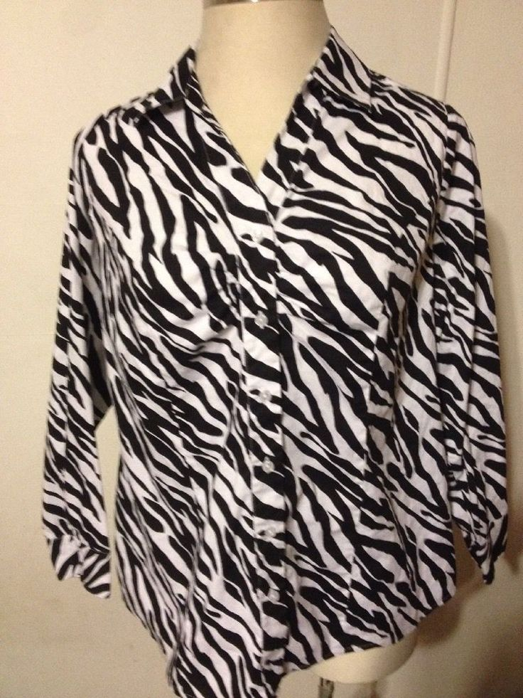 LANE BRYANT Womens Shirt Button-Up Long Sleeve Zebra Print Black White Sz 18 #LaneBryant #ButtonDownShirt #Casual #ZebraPrint #Zebra #Size18 #Plus #PlusSize #Woman #Womens #Women