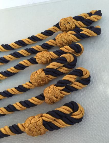 John Lewis Curtain Rope Tiebacks 33  Twisted Blue Gold Vintage Country House x6
