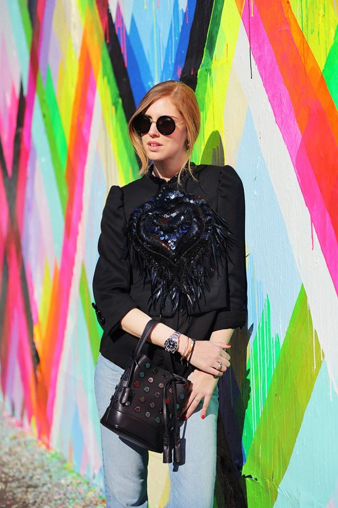 Italian blogger Chiara Ferragni played the show girl wearing Louis Vuitton Spring Summer 2014 and carrying the NN14 handbag. (Photography by Leslie Kirchhoff for www.theblondesalad.com)