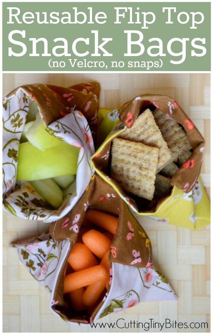 Reusable Snack Bag Tutorial. Reduce waste by using this simple sewing tutorial for DIY flip-top snack or sandwich bags. Uses easy straight-line sewing with NO snaps or velcro, perfect for beginners.
