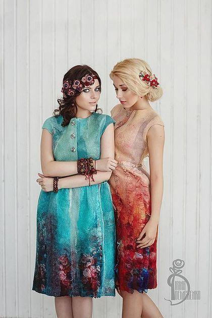 Платья ручной работы. Ярмарка Мастеров - ручная работа Валяное платье «Уроки французского». Handmade.