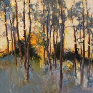 """Daily Painters Abstract Gallery: Abstract Aspen Tree Landscape Painting """"Morning Shimmer"""" by Intuitive Artist Joan Fullerton"""