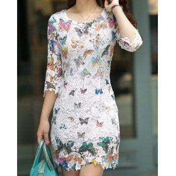$25.12 Refreshing Scoop Neck Butterfly Pattern 3/4 Sleeve Women's Lace Dress