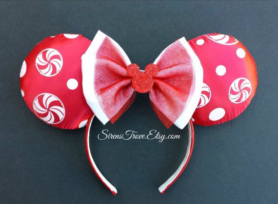 Holiday Peppermint Mouse Ears by SirensTrove on Etsy