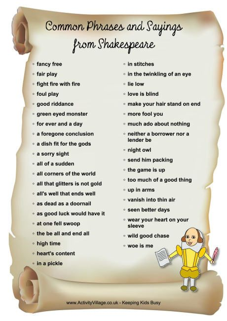 how many phrases on this list do you use did you know that shakespeare first created them. Black Bedroom Furniture Sets. Home Design Ideas