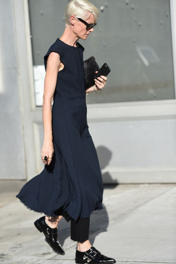 Navy Dress | Menswear | Androgynous Outfit | Black Buckle Oxfords