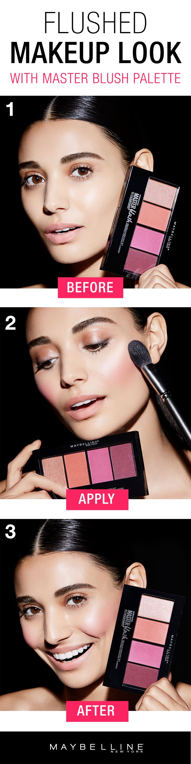 Nothing says spring more than a flushed, blushing look.  Customize your blush look with Maybelline Master Blush Palette. Featuring one highlighter shade and three blendable blush shades, you can create any blush look with just one easy palette. Use the highlighter alone or layer on top of blush for a shimmery, metallic blush look. Click through to shop the flushed makeup look!