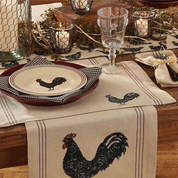 Rooster Table Linens kitchendesign in 2019 Fall kitchen