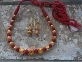 Maroon Thread Necklace with Beads