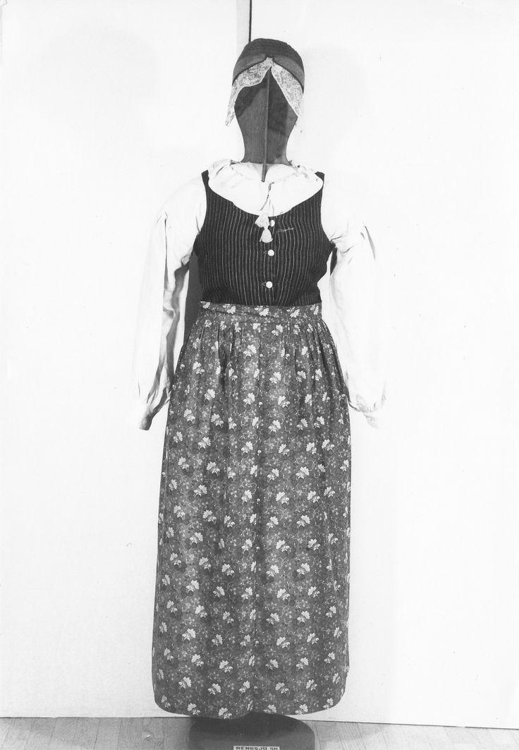 Folkdräkt från Rengsjö socken i Hälsingland. Denna dräkt finns på Hälsinglands museum och består av kjol, livstycke med knappar, särk med rosa tofsar i dragsko runt halssprundet, brunt kattunsförkläde med rosa blommor och sidenmössa med stycke.