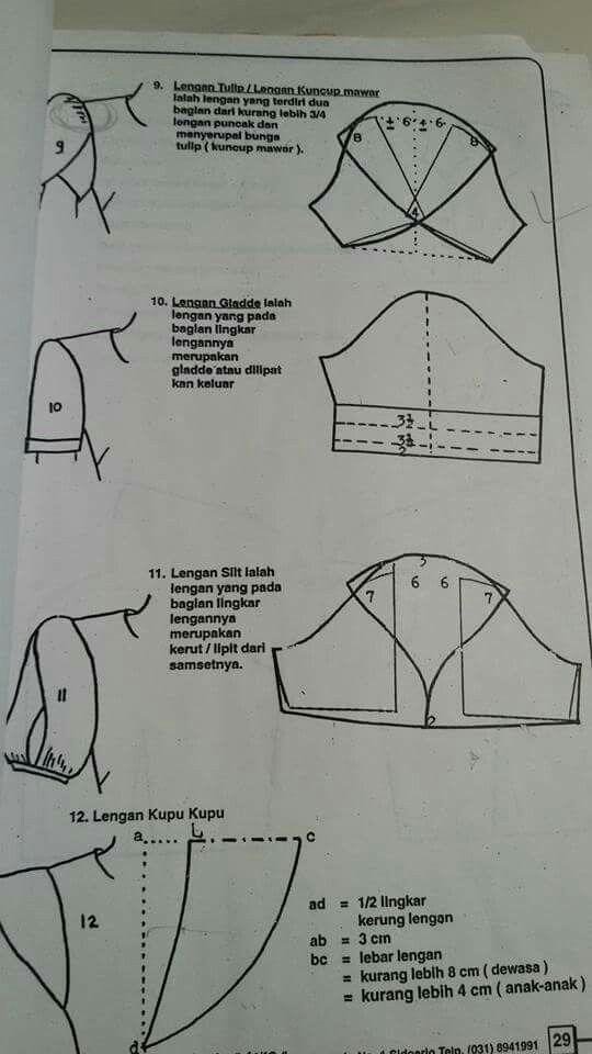 Sleeve variations, including petal sleeve pattern