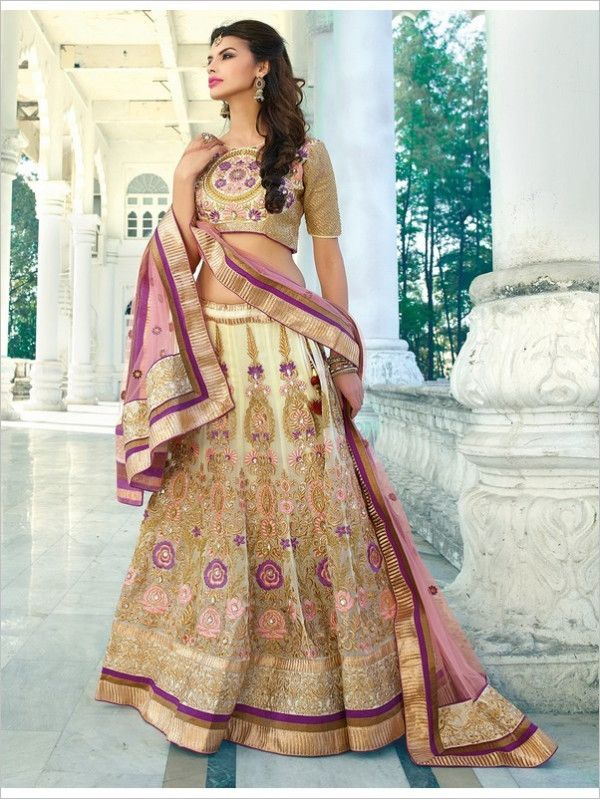 Beige Wedding Georgette Women Lehenga