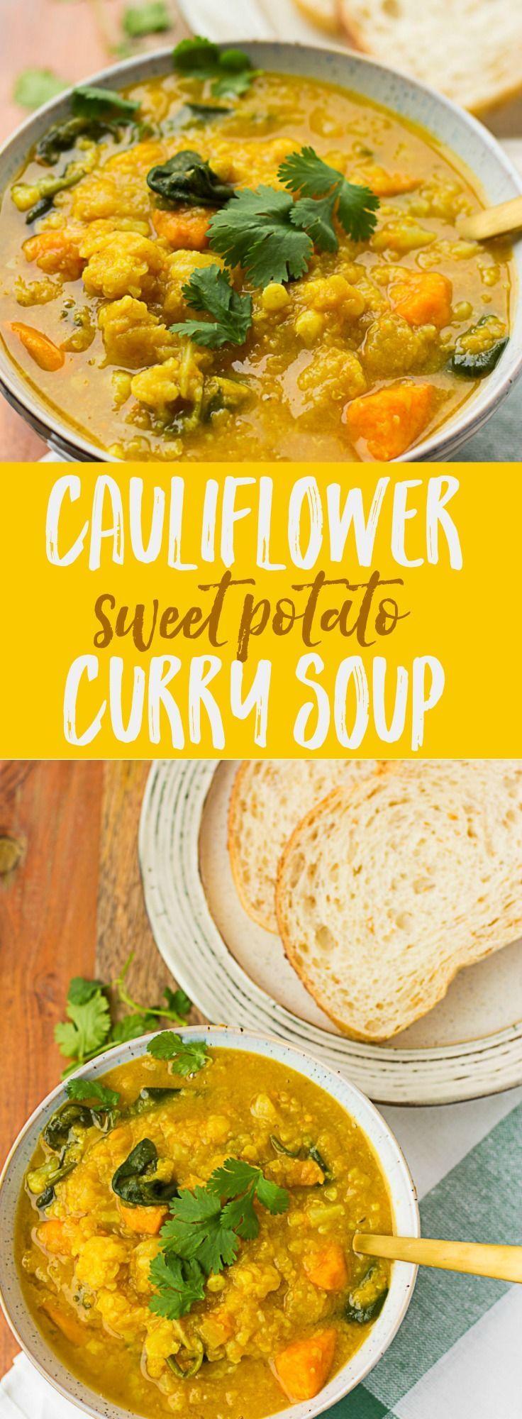 Cauliflower Sweet Potato Curry Soup   Vegan/Gluten-free   Nora Cooks