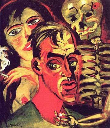 """Self Portrait with Death"" - Max Pechstein. Oil on canvas. 1920."