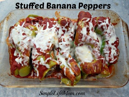 Stuffed Banana Peppers Recipe - delicious quick meal with ground beef or sausage, Italian spices, mozzarella and parmesan cheese.  A great meal anytime.  From Simple Life Mom