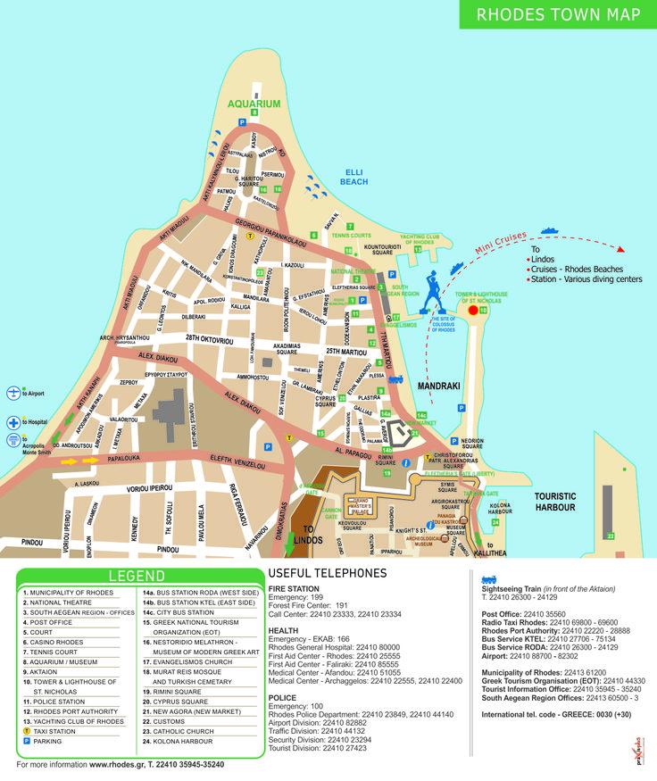 Rhodes town map, Rhodes, Greece