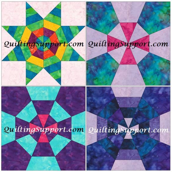 10 Inch Spiderweb Foundation Set 1 Paper Piece Quilting 4 Block Patterns PDF by HumburgCreations on Etsy