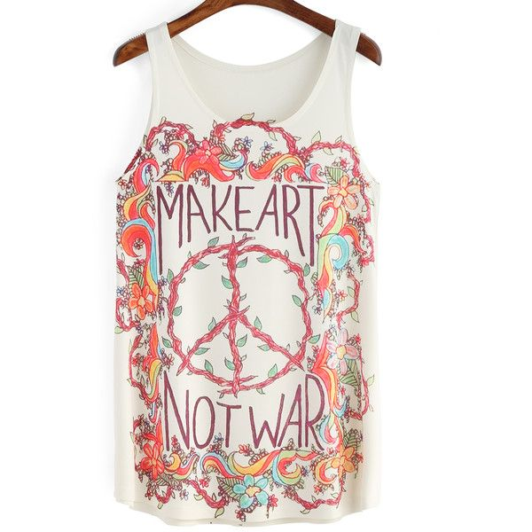 Multicolor Floral Letters Print Tank Top (319.120 VND) ❤ liked on Polyvore featuring tops, flower print top, floral print tank, floral tank top, floral top and white tank