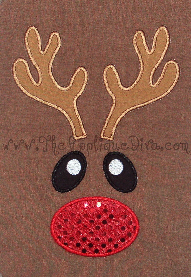 Christmas Reindeer Face  Embroidery Design Machine Applique. $2.99, via Etsy.