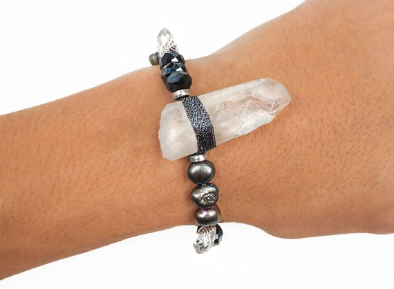 Quartz bracelet grey bracelet grey fresh by ErikaKormaDesigns
