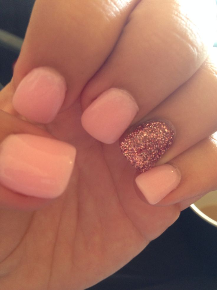 pink with rose ring finger Nexgen nails