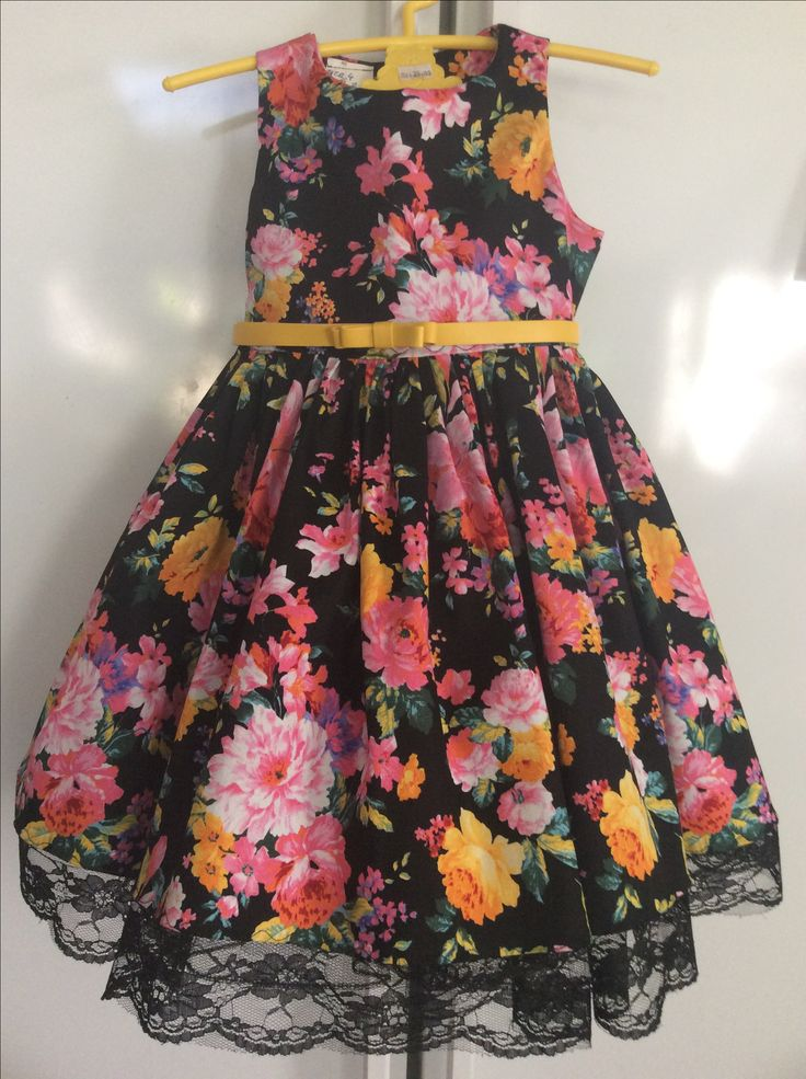 Size 4 floral with tutu under and gorgeous yellow belt