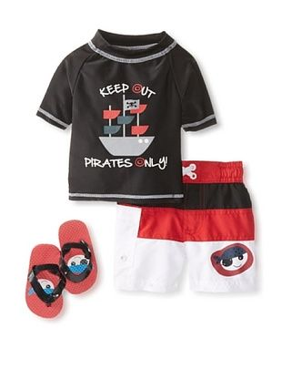 58% OFF Wippette Kid's Pirate Short & Rash Guard 3-Piece Set (Black)