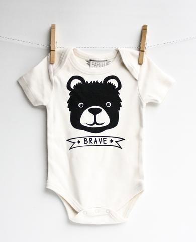 Brave Bear - organic baby bodysuit