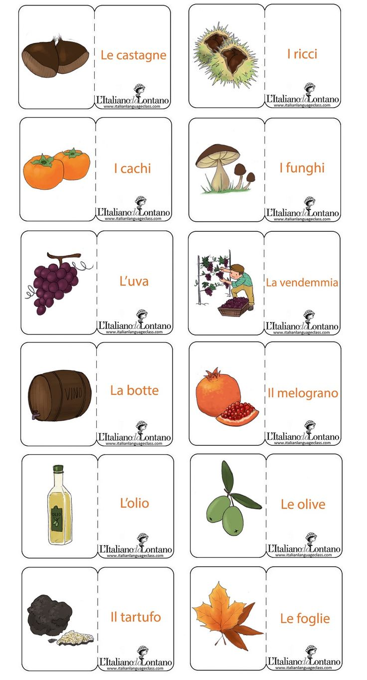 Learning Italian Language ~ Le flashcard dell'autunno sono per...buongustai!