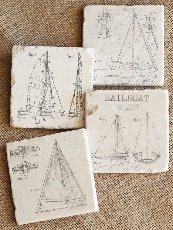 Sailboat Stone Coaster Set. Great gift for the Sailors Man Cave or the Sailor man who has everything. Boat Decoration, Sailing Decor,