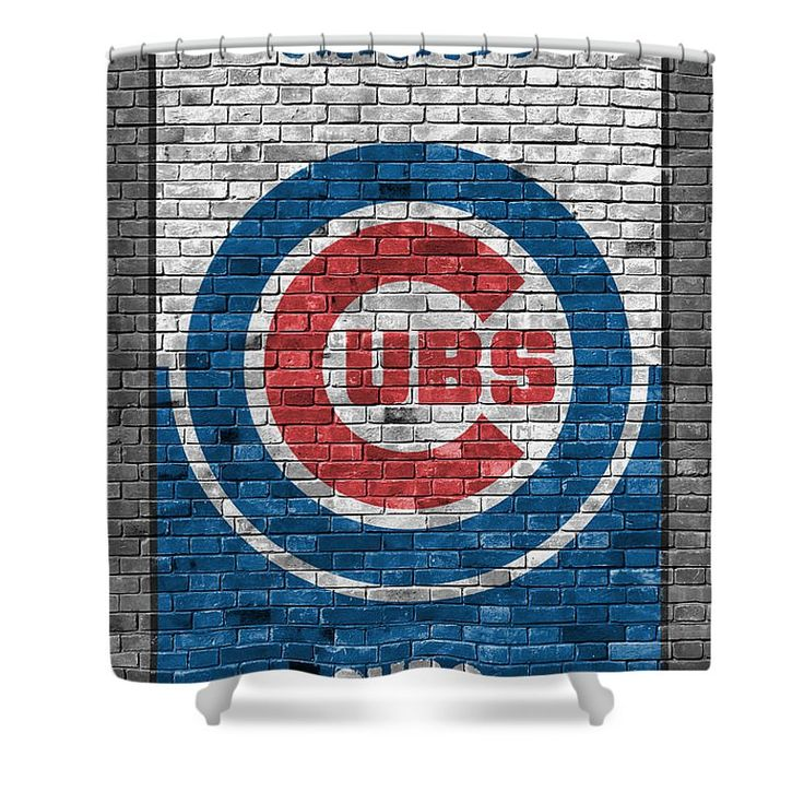 "Chicago Cubs Brick Wall Shower Curtain by Joe Hamilton.  This shower curtain is made from 100% polyester fabric and includes 12 holes at the top of the curtain for simple hanging.  The total dimensions of the shower curtain are 71"" wide x 74"" tall."
