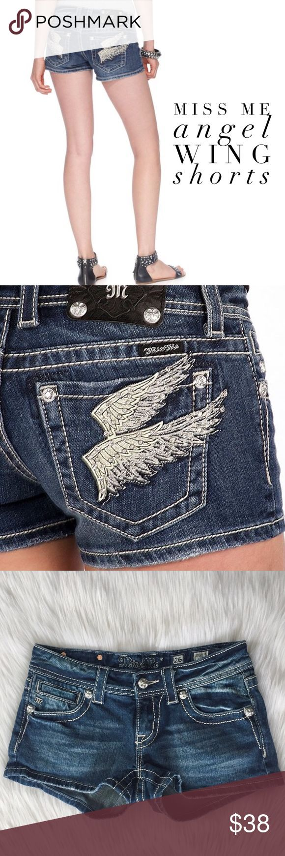 """Miss Me • Angel Wing Shorts Light whiskering and embroidered double wing and rhinestone embellished back pockets add eye-catching appeal to these mid/dark wash Miss Me jean shorts -- a summer staple!  Excellent Pre-Loved Condition (no flaws or signs of wear) Style :: JP5163H7 Color :: MK 62 Materials :: 98% Cotton, 2% Elastane   Measurements :: Flat Waist: 13.5"""" Inseam: 2.5"""" Rise: 7"""" Leg Opening: 10"""" Miss Me Shorts Jean Shorts"""