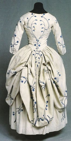 Dress a la polonaise, outer fabric embroidered linen, lining linen, 1770s, KM 67.871
