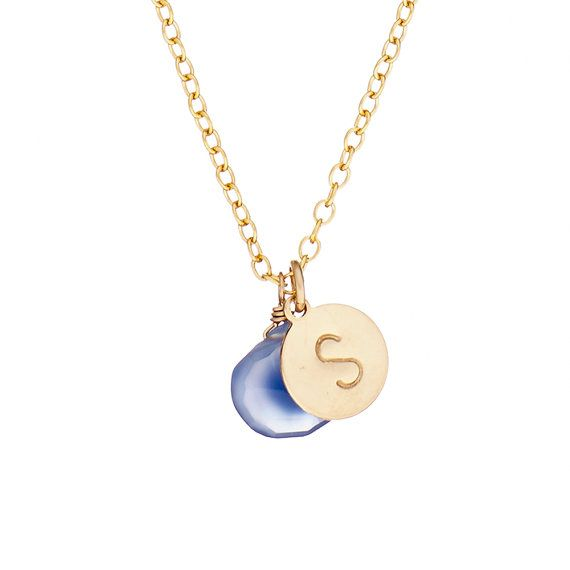 Chupi gold initial necklace with letter S Etsy listing at https://www.etsy.com/listing/163782823/hand-stamped-s-initial-necklace-14k-gold