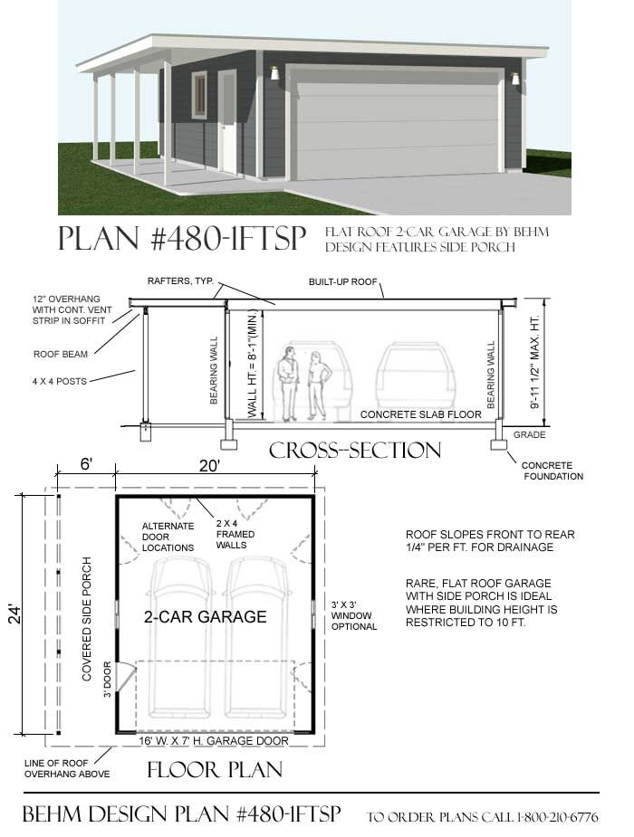 Flat Roof Garage Plans 480 1ftsp 26 W X 24 D By Behm Flat Roof Garage Plans House With Porch