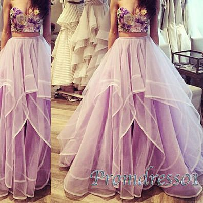 Cute lavender tulle two pieces sweetheart dress for prom 2016, prom dresses long…