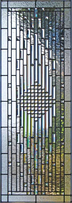 Custom leaded glass beveled abstract window