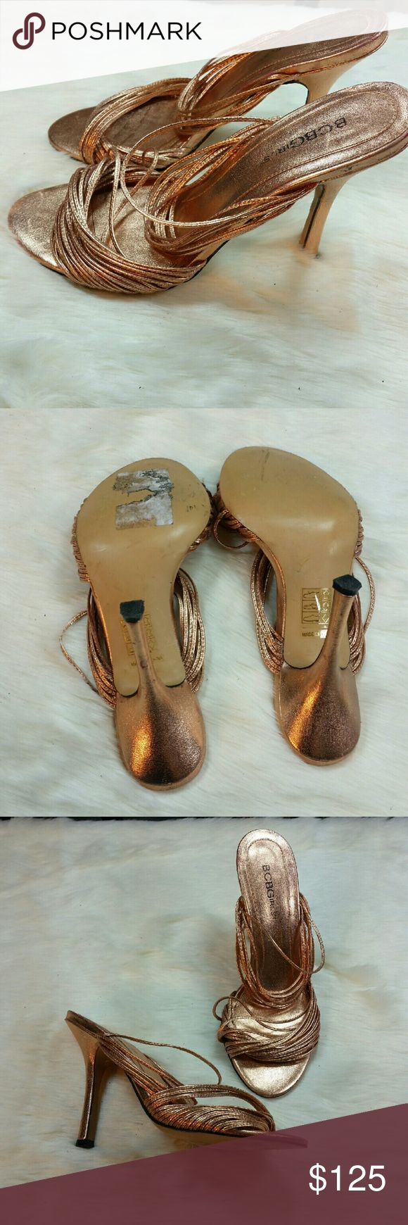 BBC GIRLS copper metallic strappy heels Copper metallic strappy slip on sandals heels. Good condition with some minor wear. Heels are 4 inches. BCBGirls Shoes Heels